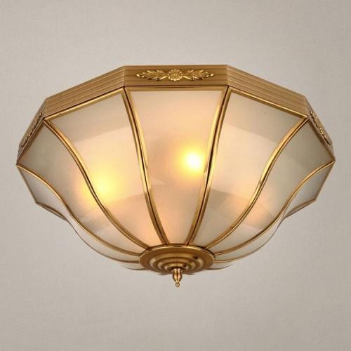 欧式吸顶灯全铜纯铜酒店庭院客厅卧室专用复古铜灯艺术顶灯